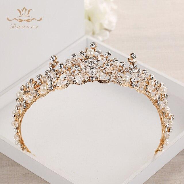 แฟชั่นเจ้าสาวคริสตัล Tiaras Crowns ทอง Headpieces Rhinestone อุปกรณ์เสริมผมงานแต่งงาน Evening เครื่องประดับผม