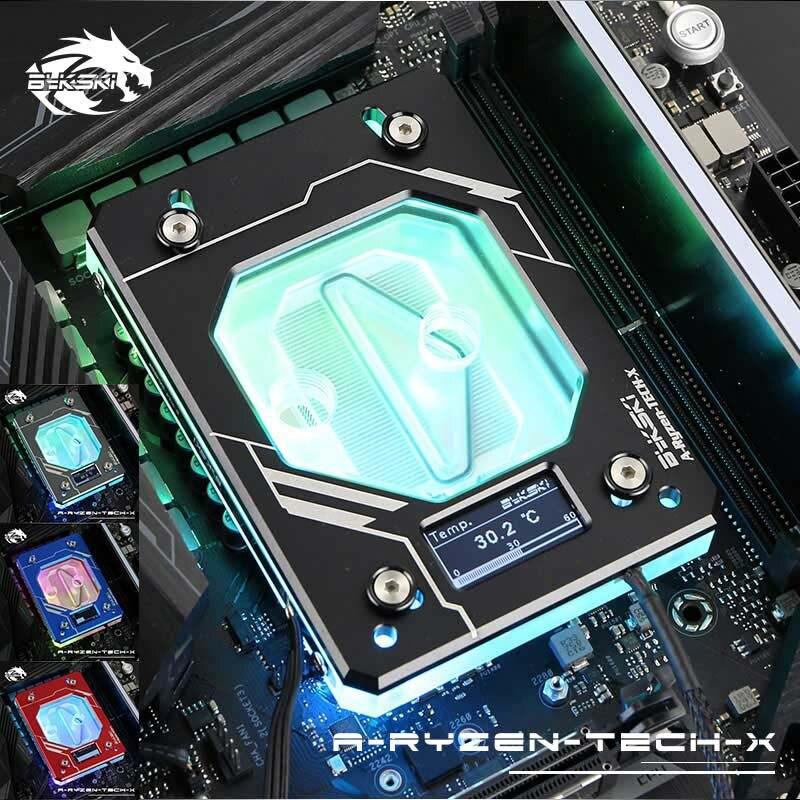 Bykski bloc d'eau CPU pour AMD AM3/AM4 + X399 thermomètre à affichage numérique RGB (12 V)/RBW (5 V)/NoLED refroidisseur d'eau refroidissement liquide