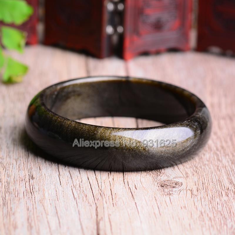 Beau Bracelet obsidienne en or naturel de 15-20mm de large Bracelet chanceux fait main bracelets pour femme et homme 58-60mm - 4