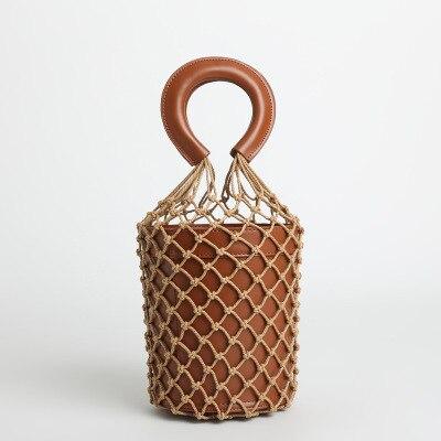 Bolsa de Luxo Bolsa de Couro Oco para Fora Tecido Bolsa Feminina Verão Praia Totes Designer Balde Bolsas Moda Ins Net