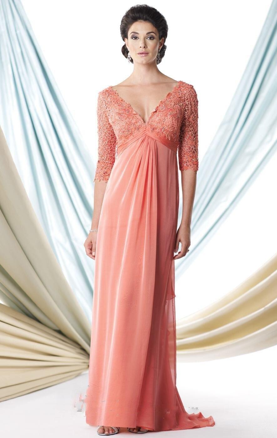 Элегантная мода длинные вечерние платья 2016 половина рукава мать Невесты Платье v шеи orange кружева формальные пром