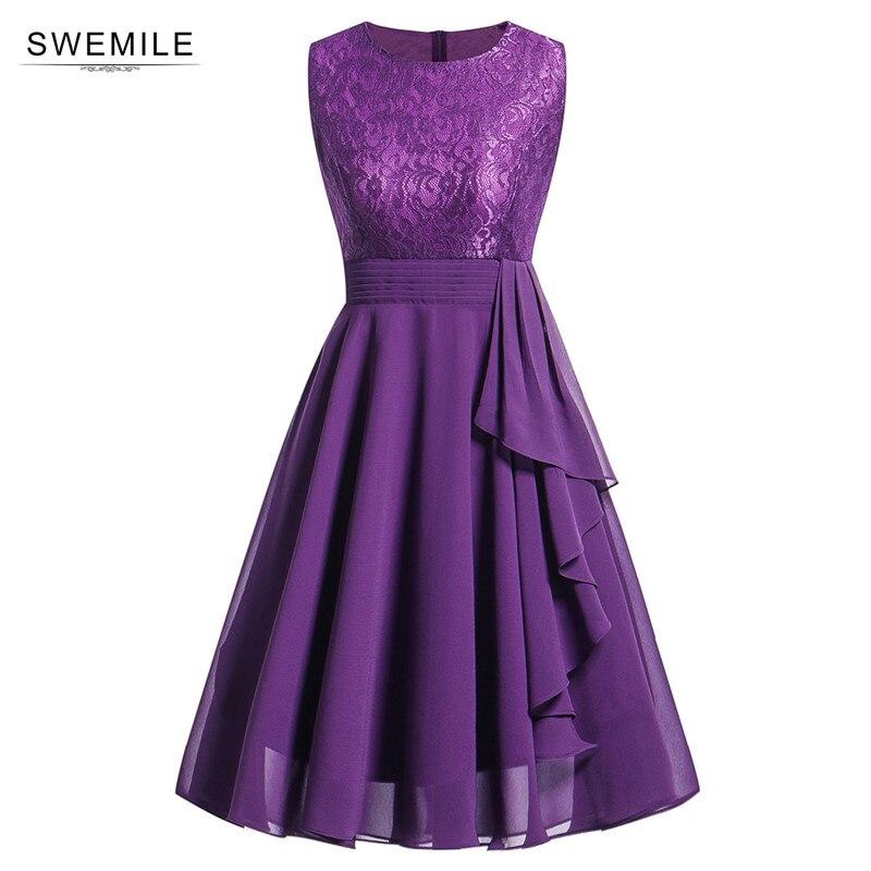 Vintage Purple Short Lace   Evening     Dress   Chiffon   Evening   Party   Dresses   with Sashes Robe de Soiree Courte