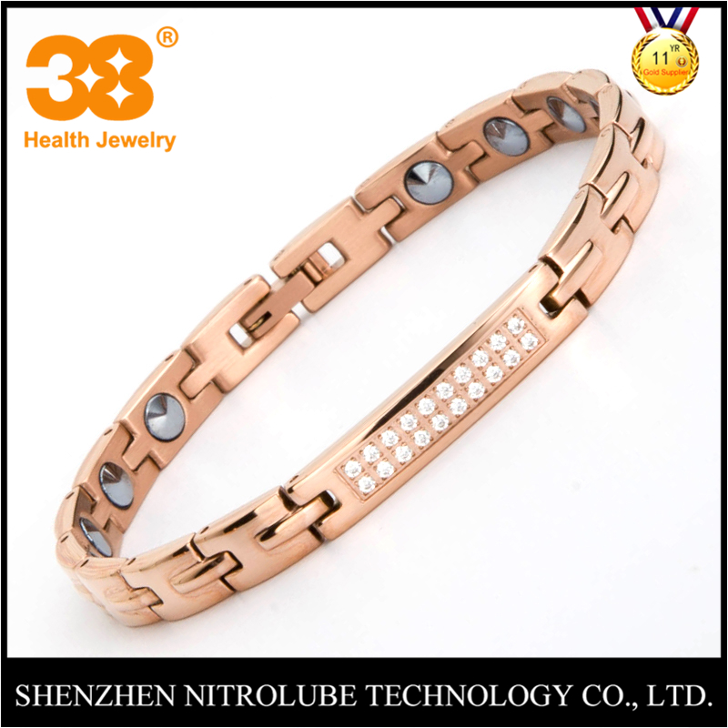 38 Fashion Health Magnet Charm Bracelet Full Pure 99.9% Germanium 316L Stainless Steel Rose Gold Color Bracelets Bangles Jewelry fashion jewelry copper color 2 style bracelets mens stainless steel hologram magnet bracelets bangles for man trendy gift