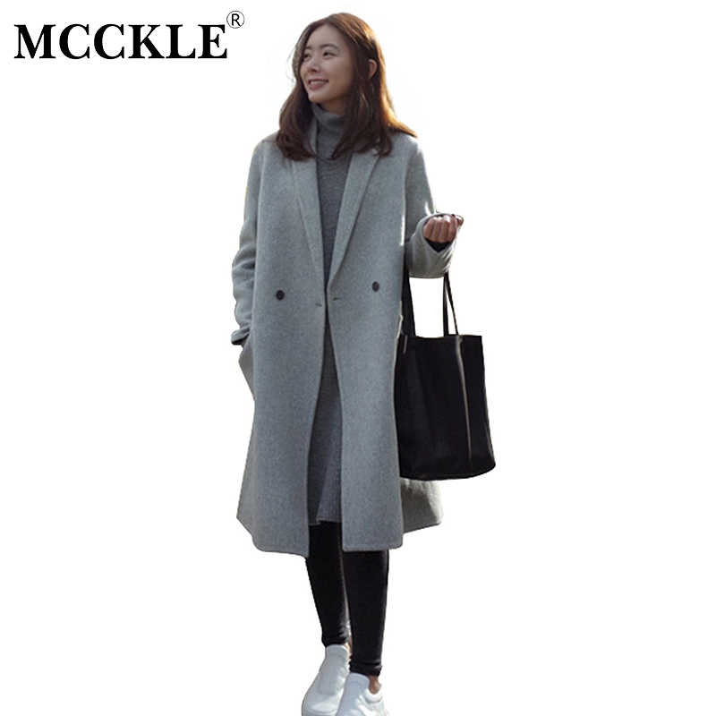 MCCKLE Women Autumn Winter Coats Jackets warm wool blends vintage solid Oversized High Quality Winter Long