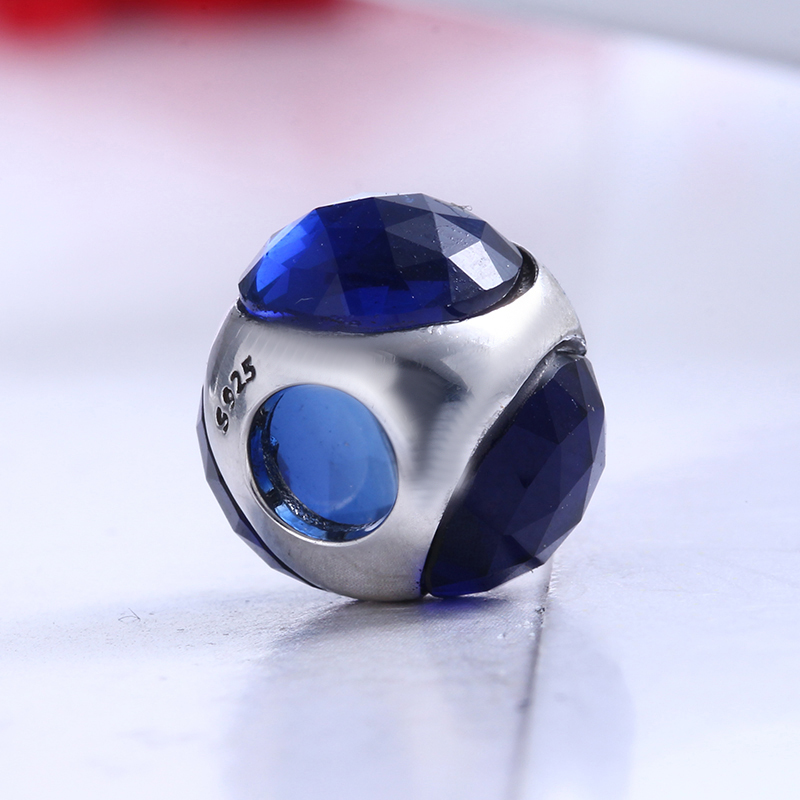 100% 925 Sterling Silver Fit Original Pandora Bracelet Radiant Droplet Royal Blue Crystals Charm Beads for Jewelry Making Gift