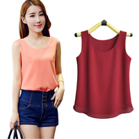 2016 Summer Explosion Models Candy Color Chiffon Shirt Shirt Sleeveless Chiffon Camisole Vest Female T Shirt
