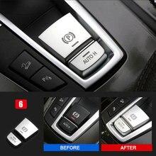 Estilo do carro Chrome Interior Central Auto H Botão Do Travão de mão Tampa Guarnição Adesivos para BMW 5/6/7 Series F10 F07 GT X3 X4 X5 X6