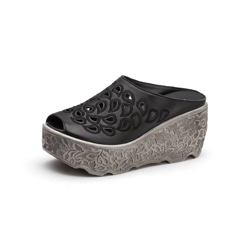 ZUZHIXIU 2019 여름 새로운 국가 진짜 가죽 여성 슬리퍼, 바오 터우 중공 머핀 가죽 신발, 순수한 수제 슬리퍼-에서슬리퍼부터 신발 의  그룹 2