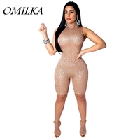 OMILKA Sequin Club Knee Length Jumpsuits 2019 Summer Women Sleeveless Stand Neck Gold Silver Black Bling Bodycon Party Playsuits