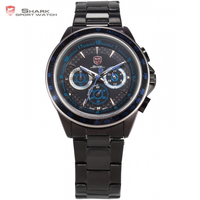 eef68eb8353 SHARK Sport Watch Brand Men Auto Date Day Display Relogio Full Stainless  Steel Strap Clock Tag