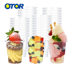 OTOR 100pcs 8oz Ice Cream Bowl Cup with Dome Cover Clear PP Plastic Milk Shake Yogurt Ice Smoothie Cup Summer Supplies