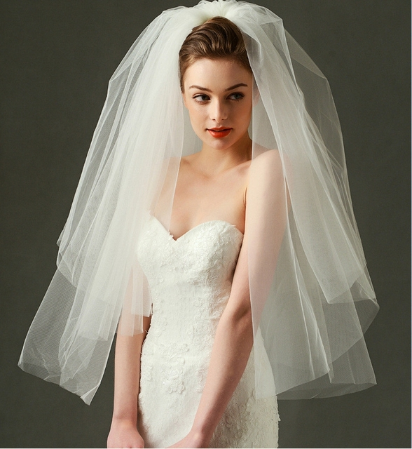 Wedding Hair Style For A Veil: Wedding Veil 2017 Fluffy Bridal Veil Two Layers Short Veil