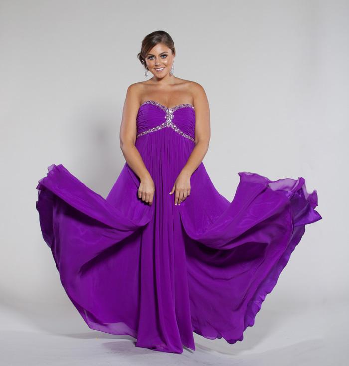 Custom Made Sweet Heart Floor Length Empire A line Purple ...