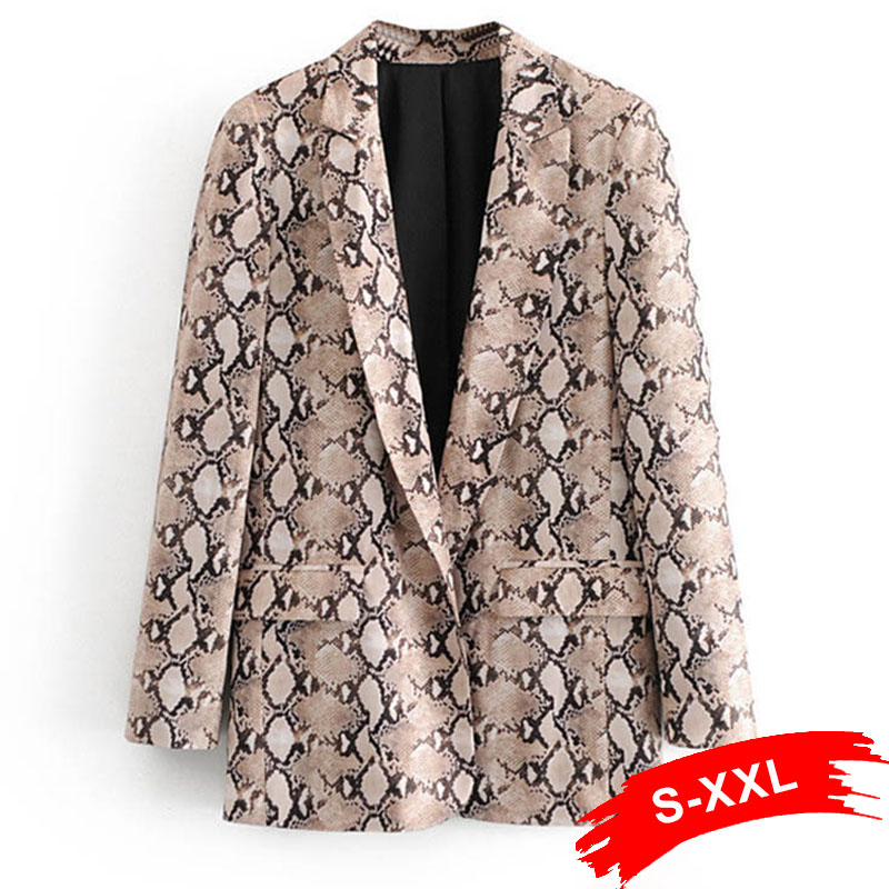 Women Chi Snake Pattern Print Blazer Autumn Spring Animal Gathered Single Breasted Long Sleeve Casual Tops Office Office Wear