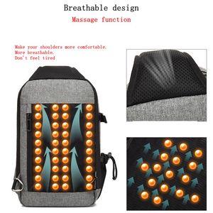 Image 4 - BAIBU sac à bandoulière imperméable pour hommes, sac chargeur USB de massage anti vol, sac messager de poitrine court voyage pour ipad Mobile