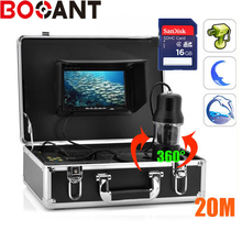 20m 360 Degree rotation SONY CCD PTZ Underwater video Camera with 7 Inch LCD moniot box Freeship with 8GB SD card
