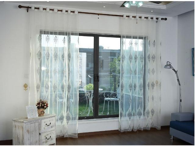 Europese geborduurde voile gordijnen slaapkamer vitrage voor