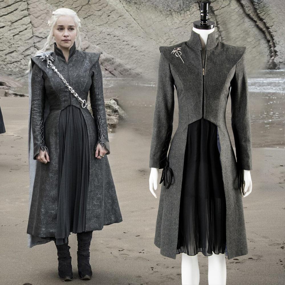 Daenerys Targaryen Costume Game of Thrones Season7 Cosplay Fancy Dress Black Outfit Full Set Halloween Carnival