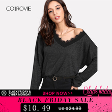 e14408ad509afb COLROVIE Black Solid Eyelash Lace Casual Knitted Sweater 2018 Autumn Green  V Neck Women Jumper Pullovers