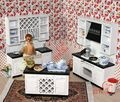 Mordern Wooden 1:12 Miniature Dollhouse Kitchen Furniture Cabinets Set Play Doll House Accessories