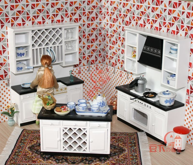 Mordern Wooden 1 12 Miniature Dollhouse Kitchen Furniture Cabinets Set Play Doll House Accessories