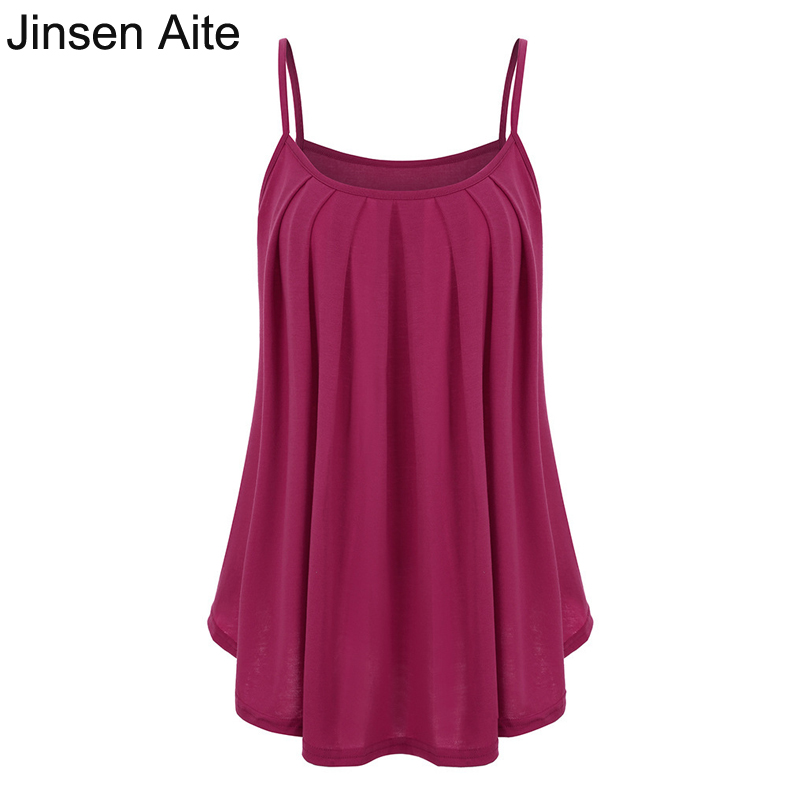 Jinsen Aite S-6XL Plus Size New Summer Vest Top Sleeveless Shirt Casual Solid Large loose Camis Female Sexy Tank Tops JS611