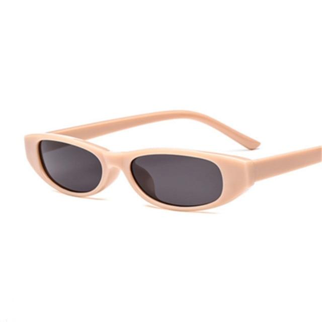 Sunglasses Women Small Rectangle Cat Eye Brand Designer Retro Skinny Eyewear Black Frame Red Sun Glasses 1