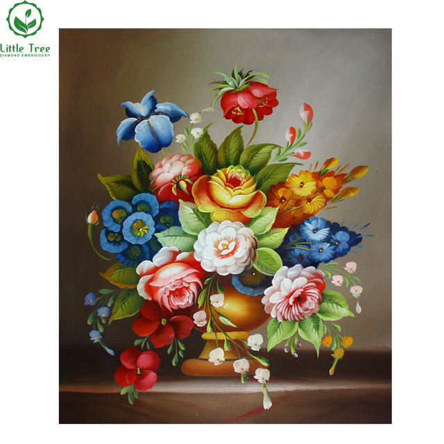 New 3d Diy Diamond Painting Psychedelic Bouquet Vase Inlaid ...