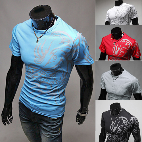2016 Top Quality Strong Men s Fashion Summer Tattoos Printed Cotton Short Sleeve Crew Neck Tees