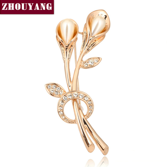 ZYX023 Tulip Imitation Pearl Crystal Brooches  Rose Gold Color Jewelry Austrian Crystal Wholesale