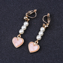JIOFREE Korean Cute Heart simulated pearl Clip on Earrings Without Piercing for Women Girl Ear Jewelry Party Sweet Style Earring