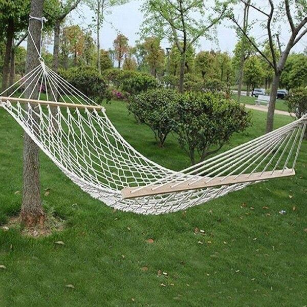 Coton solide bois épandeur extérieur Patio Yard jardin suspendu balançoire lit hamac