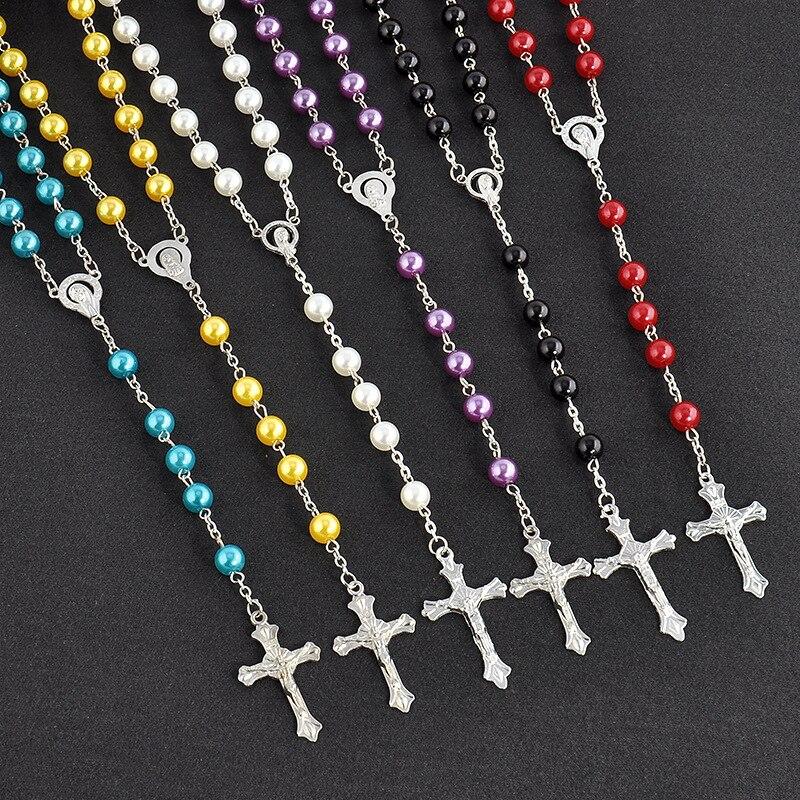 New Fashion Handmade Round Glass Bead Catholic Rosary Quality Bead Cross Necklace Beads Cross Religious Pendants Necklace