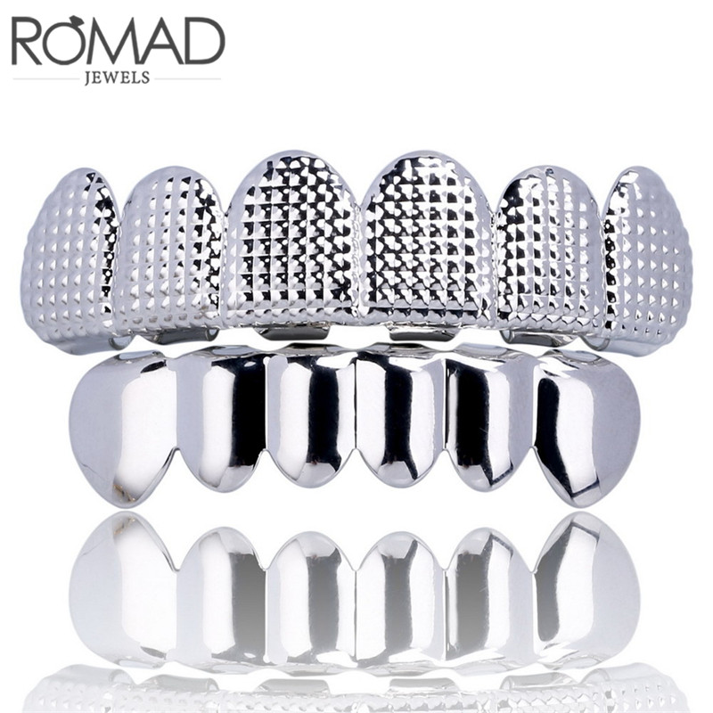 ROMAD HIP HOP Gold Teeth Grillz Top & Bottom 6 Teeth Grills Dental Cosplay Vampire Tooth Caps Rapper Party Jewelry Gift R4 image