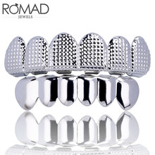 ROMAD HIP HOP Gold Teeth Grillz Top & Bottom 6 Grills Dental Cosplay Vampire Tooth Caps Rapper Party Jewelry Gift R4