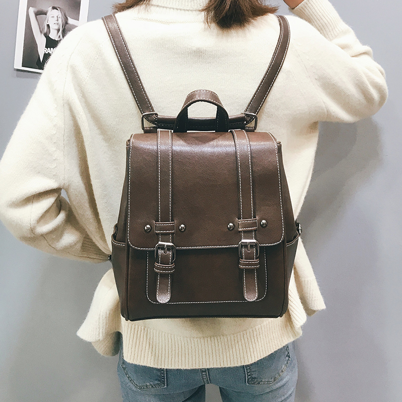 Image 2 - New Vintage Women Backpack High Quality Leather School Bags for Girls Lady Simple Style Backpack Fashion Leisure Pu Shoulder BagBackpacks   -
