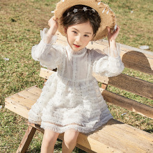 Girls dress spring and summer 2019 new Korean long-sleeved childrens gauze girls