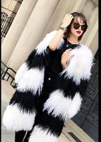 Hot Sale Stylish Warm Fashion Black White Patchwork Long Mongolian Lamb Fur Coats Outerwear Natural Fur