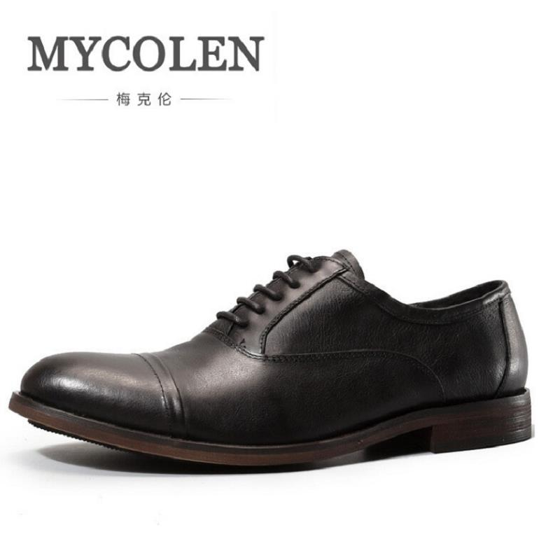 MYCOLEN 2018 New Retro Genuine Leather Dress Shoes Autumn Mens Black Formal Wear Shoes for Business Wedding Zapatos mycolen high quality crocodile skin genuine leather mens loafers formal wear shoes for suits business wedding shoes men
