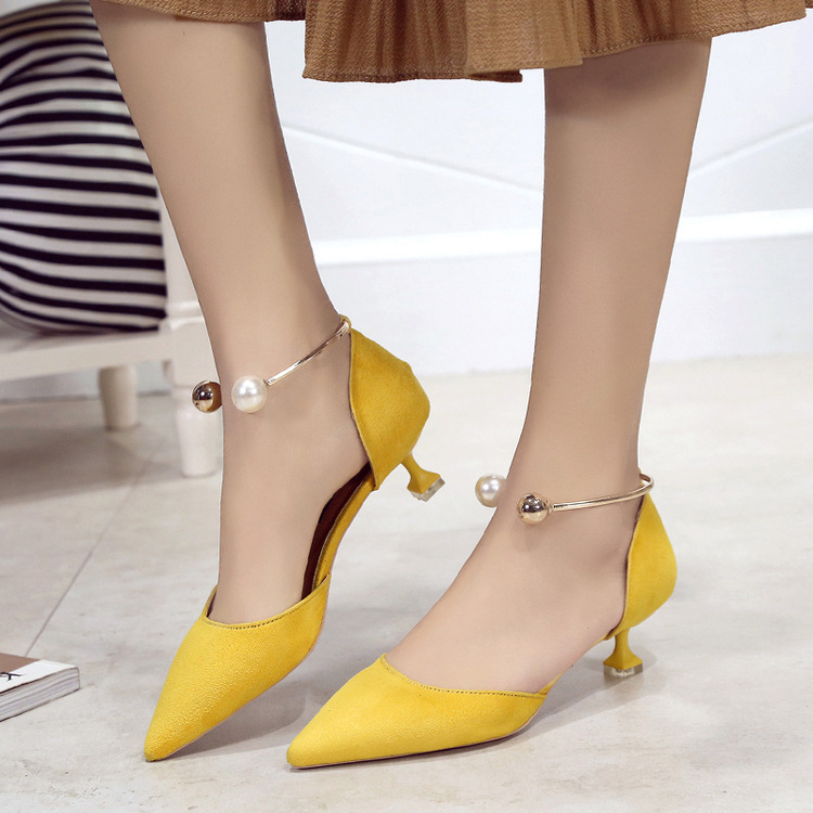 ФОТО  pointed to temperament Suede Sandals female shoes with the new spring and summer glass hollow Korean all-match shoes