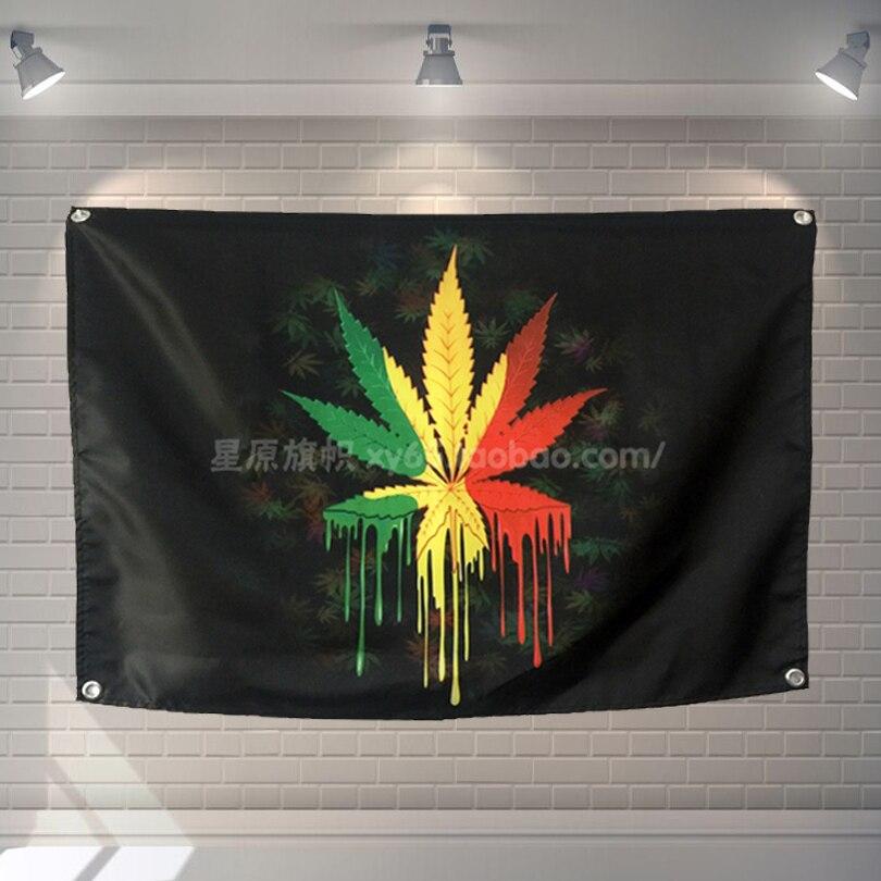 Feuilles de chanvre Reggae bannières de musique en métal lourd suspendus drapeau autocollant mural café Restaurant locomotive club fond en direct décor