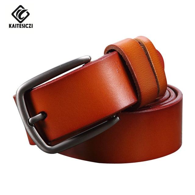[KAITESICZI] 2017 nuevo 100% correa de la manera correa de cuero de vaca de los hombres retro cinturón masculino cinturón de cuero de alta calidad