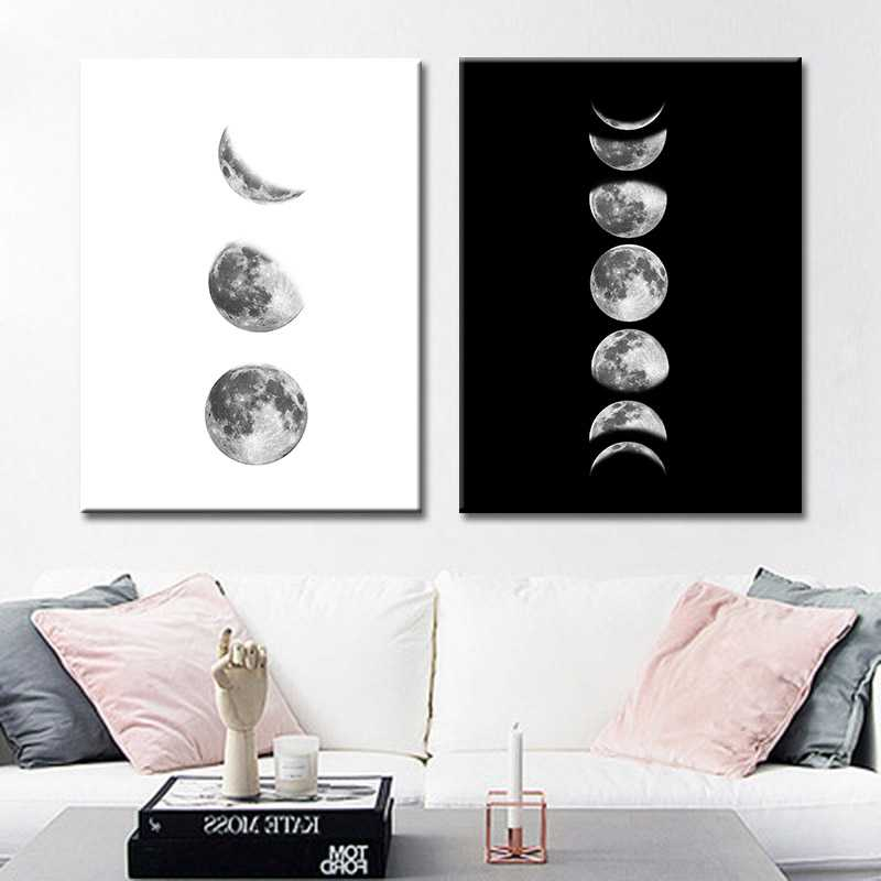 Wall Art Poster Canvas Painting Minimalism Black White Eclipse Moon Wall Pictures for Living Room cuadros Decoracion No Frame