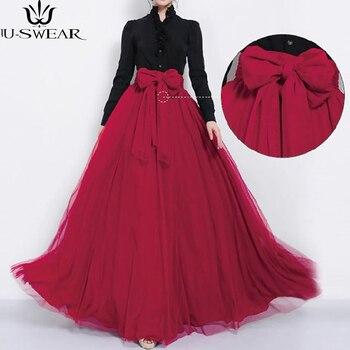 U-SWEAR Maxi Rok Panjang Musim Gugur Rok Tulle Pernikahan Bridesmaid Tutu Rok Ball Gown Plus Ukuran Faldas Saias Feminin Jupe