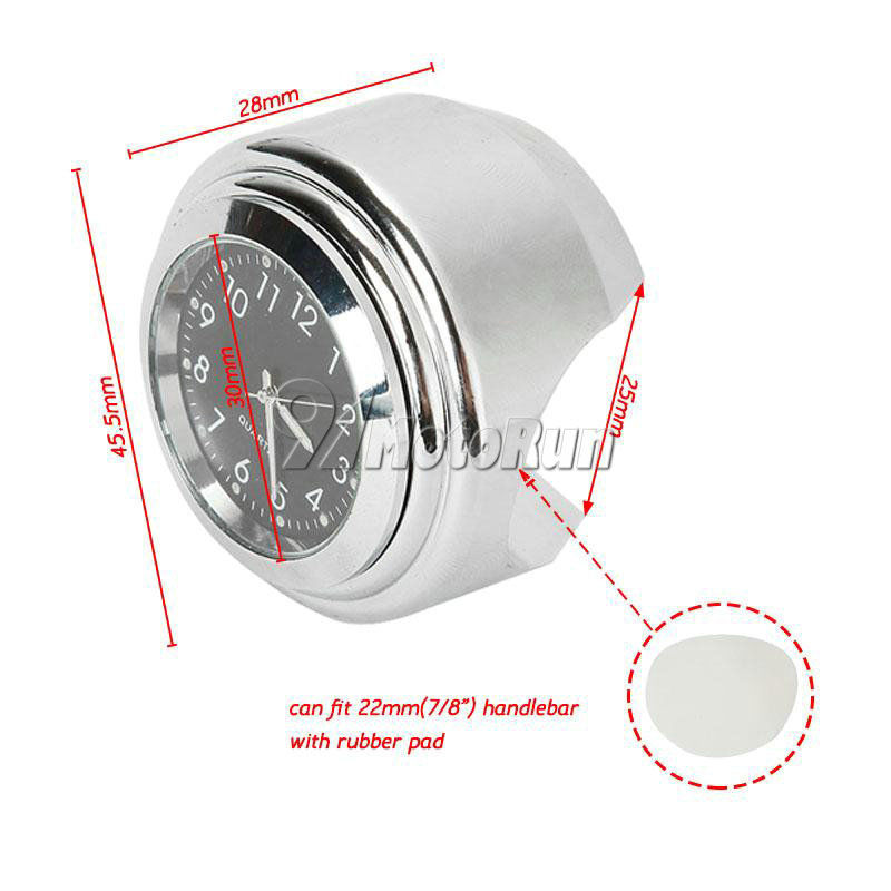 "7//8/"" 1/"" Chrome Handlebar Clock For Yamaha V-Star XVS 650 1100 Classic Silverado"