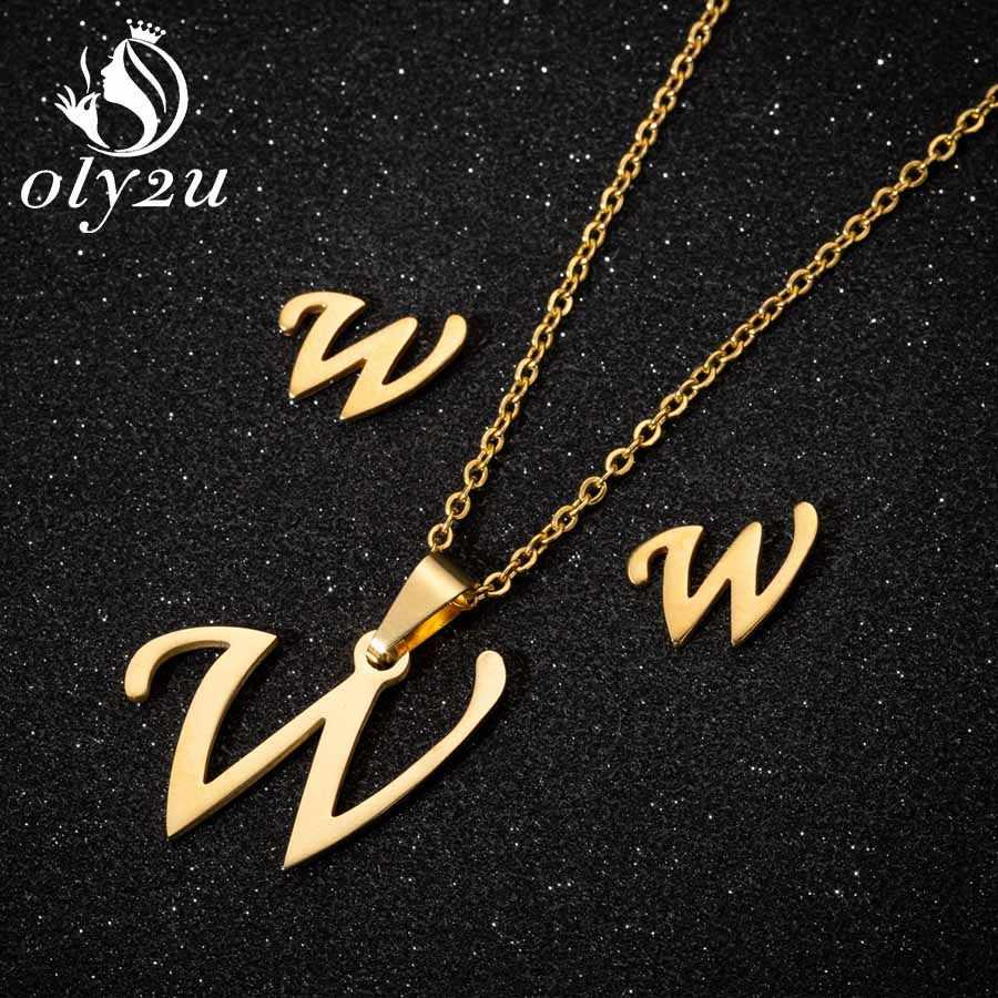 Oly2u זהב שרשרת תכשיטי סט לנשים כלה לנכש Stud עגילי תכשיטי נירוסטה תליון שרשראות עגילי סט