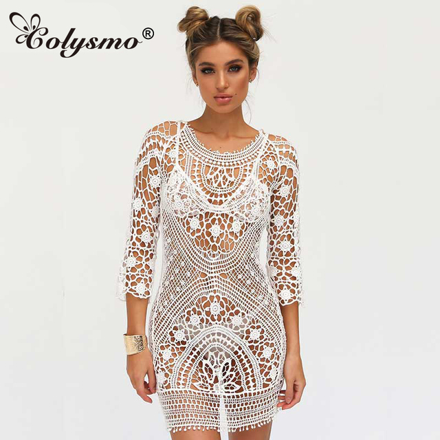Colysmo Embroidery Boho Dress Lace Crochet Floral Mini Beach Dress Summer  Sundress Beachwear Day Sexy Dress Vestidos Dresses New 150e2af864a1