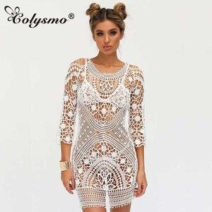 Colysmo Embroidery Boho Dress Lace Crochet Floral Mini Beach Dress Summer Sundress Beachwear Day Sexy Dress Vestidos Dresses New