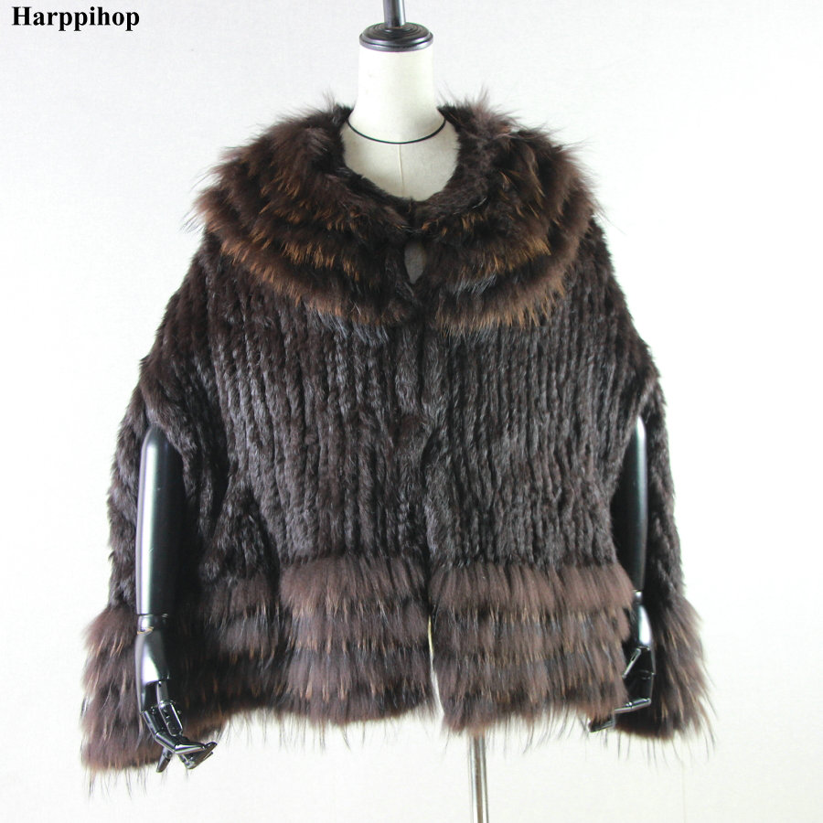 RC01 Real Knitted rabbit & raccoon Fur Shawl poncho stole shrug cape robe tippet wrap women's winter warm coat/outwear