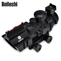 Beileshi Hunting 4 X 32 Compact Rifle Scope Fiber Sight Red Dot Scope with fiber optic sight for 20MM Rail Ulitity